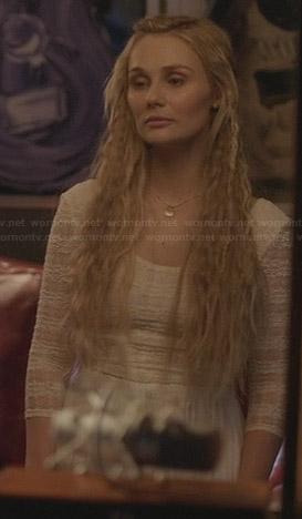 Scarlett's white lace crop top on Nashville