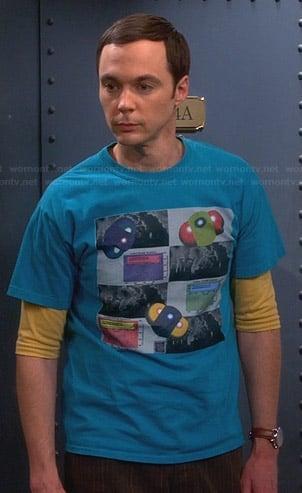 Sheldon's blue graphic tee on The Big Bang Theory