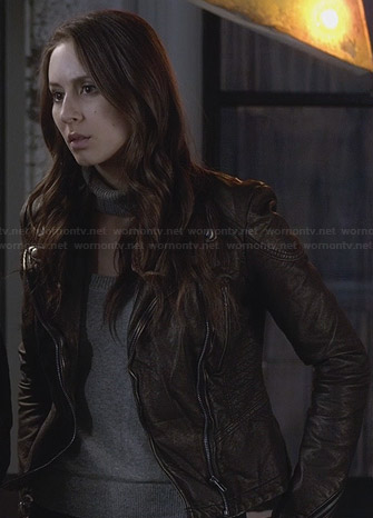 Spencer's bronze leather jacket on Pretty Little Liars