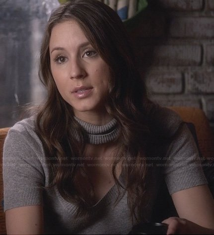 Spencer's grey cutout turtleneck sweater on Pretty Little Liars