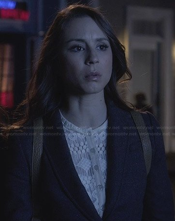 Spencer's white lace button-front dress on Pretty Little Liars