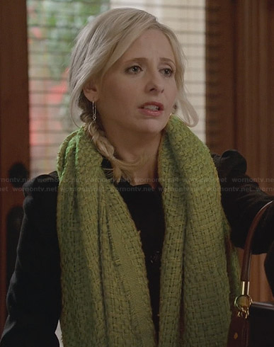 Sydney's green scarf and silver earrings on The Crazy Ones