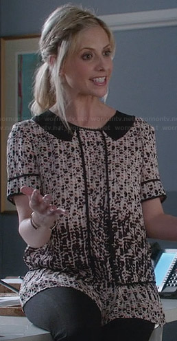 Sydney's printed blouse with collar on The Crazy Ones