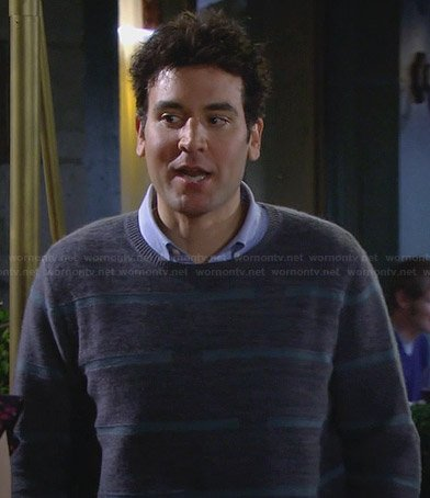 Ted's grey broken stripe sweater on HIMYM