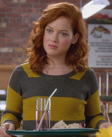Tessa's yellow and grey striped sweater on Suburgatory