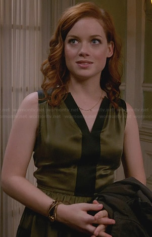 Tessa's olive green dress with black contrast trim on Suburgatory