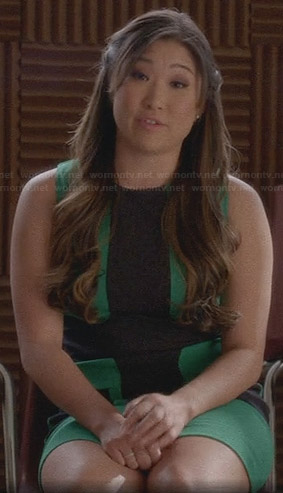 Tina's green and black cross panel dress on Glee