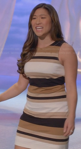 Tina's brown striped shift dress on Glee