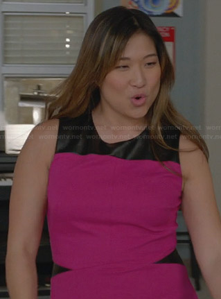 Tina's hot pink dress with black leather insets on Glee