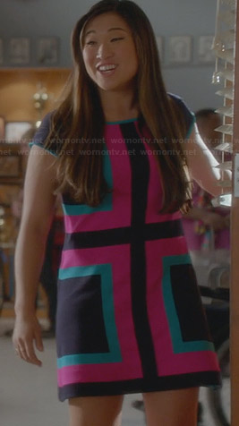 Tina's pink and blue color block dress on Glee