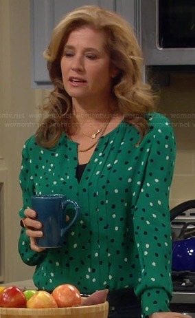 Vanessa's green pleated polka dot blouse on Last Man Standing