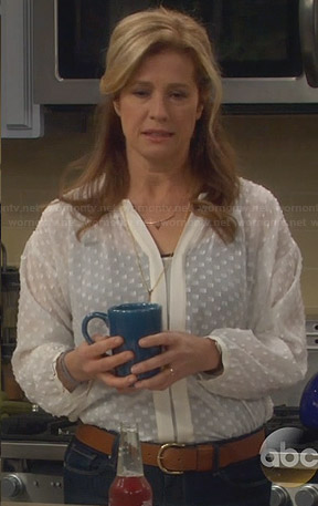 Vanessa's sheer white dotted blouse on Last Man Standing
