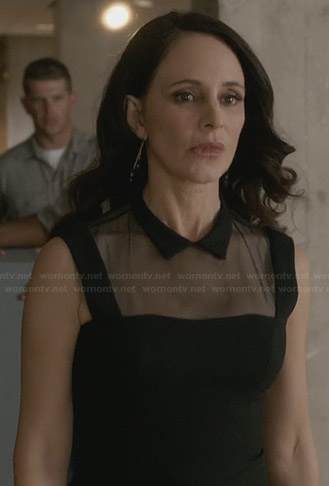 Victoria's black collared dress with mesh panel on Revenge