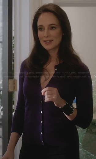 Victoria's purple cardigan on Revenge