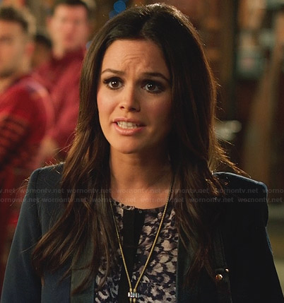 Zoe's purple feather print top with black trim on Hart of Dixie