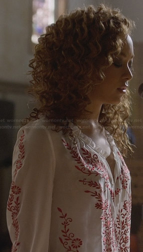 Zoey's white and red embroidered peasant top on Nashville