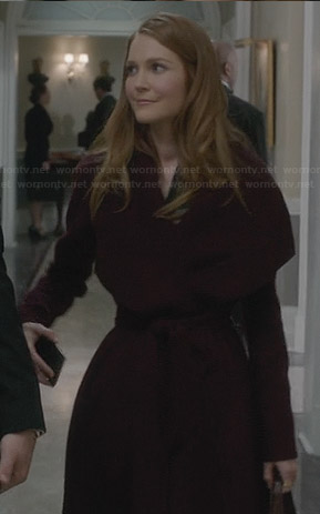 Abby's burgundy shawl collar coat on Scandal