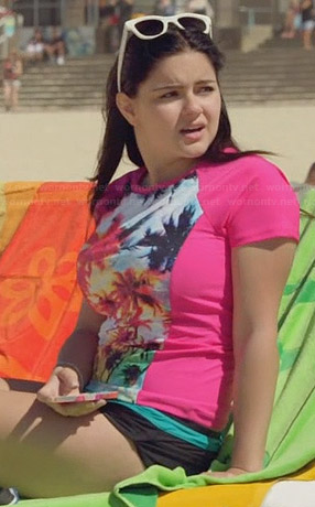 Alex's pink palm tree print swim top on Modern Family
