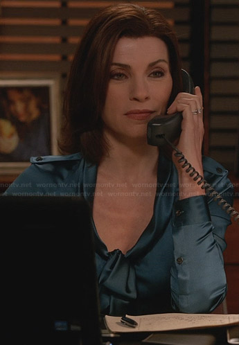 Alicia's blue satin tie front blouse on The Good Wife