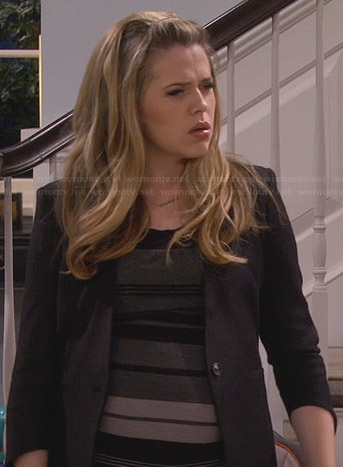 Andi's grey striped dress and black blazer on Friends with Better Lives
