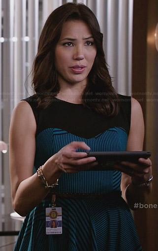 Angela's blue striped dress on Bones