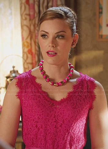 AnnaBeth's pink lace v-neck dress on Hart of Dixie