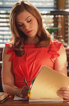 AnnaBeth's orange flutter sleeve dress on Hart of Dixie