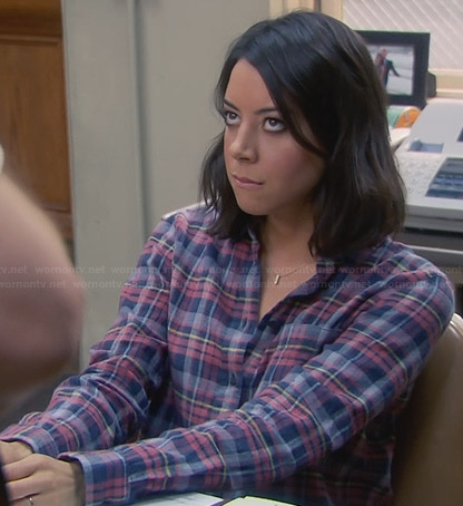 April's blue plaid shirt on Parks and Recreation