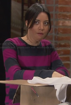 April's pink and grey striped sweater on Parks and Recreation