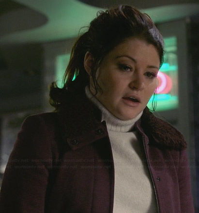 Belle's burgundy fur collar jacket on Once Upon a Time