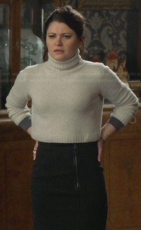 Belle's grey front zip skirt and cropped turtleneck sweater on Once Upon a Time