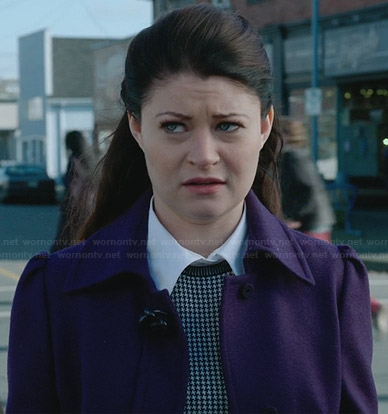 Belle's purple coat and houndstooth sweater on Once Upon a Time