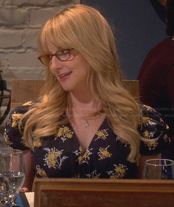 Bernadette's black and yellow floral v-neck dress on The Big Bang Theory