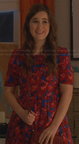 Betsey's blue and red printed dress on The Mindy Project