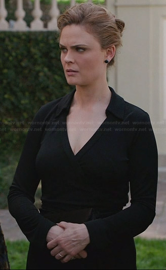 Brennan's black wrap dress on Bones