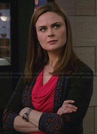 Brennan's grey cardigan with patterned trim on Bones