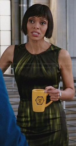 Camille's black and green printed dress on Bones