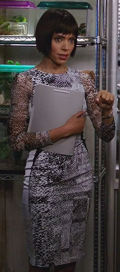 Camille's white snake print dress on Bones