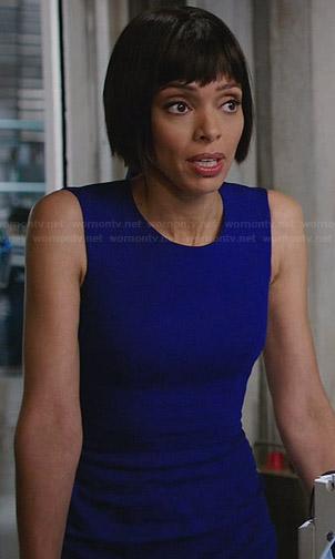 Camille's blue checkerboard dress on Bones