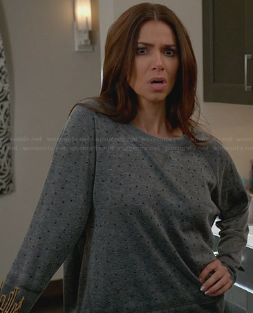 Carmen's grey rhinestone studded sweatshirt on Devious Maids