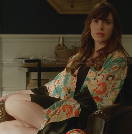 Charlotte's floral bath robe on Revenge