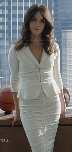 Dana's white tweed peplum jacket and matching skirt on Suits