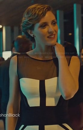 Delphine's black and white colorblock illusion dress on Orphan Black
