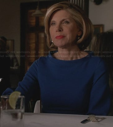 Diane's blue long sleeved dress on The Good Wife