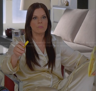 Diane's cream pajamas with white trim on Trophy Wife