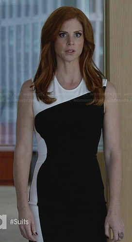 Donna's black and white colorblock dress on Suits