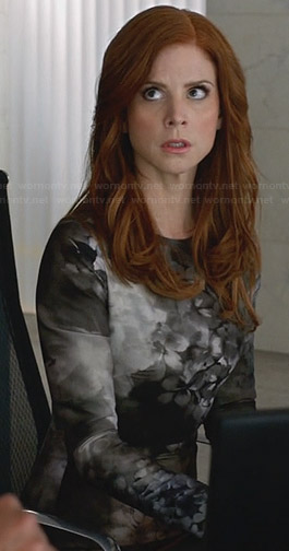 Donna's grey long sleeved floral dress on Suits