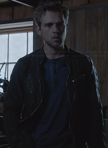 Dylan's black leather patch jacket on Bates Motel