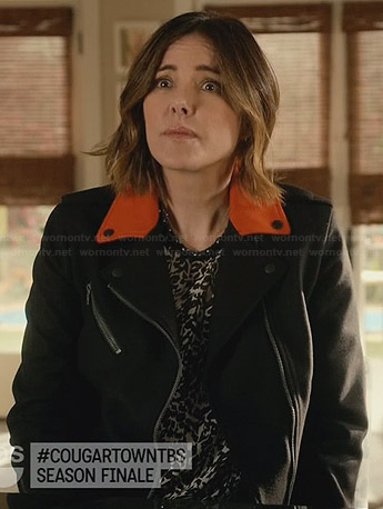 Ellie's biker jacket with orange collar on Cougar Town