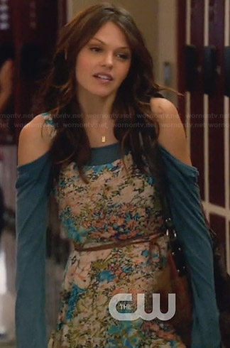 Emery's blue off shoulder shirt and floral dress on Star-Crossed